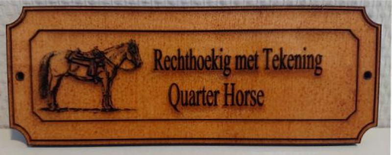 Houtennaamplaat met Paard er op