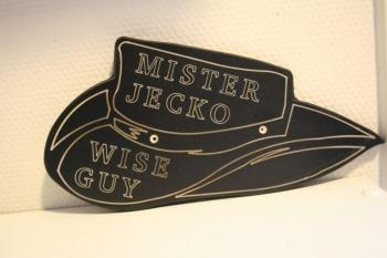 Naamplaat Model C Cowboyhoed zwart MIster Jecko
