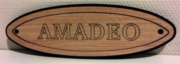 Naamplaat Model A in Eiken Krijt met zwarte tekst - AMADEO